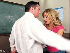 Eat Sleep Porn brings you a hell of a free porn video where you can see how the naughty blonde girl Amy Brooke sucks and gets facialized in the classroom.