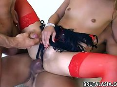 Small tittied Asian hoe in red stockings gets double penetrated