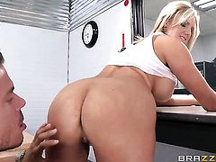 Mick Blue is horny and cant wait any longer to fuck Zoey Holiday with giant melons in her butthole