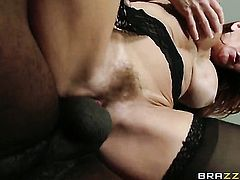 Janet Mason lets Jason Brown shove his throbbing dick in her mouth