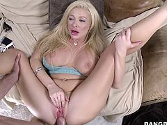 This moaning MILF is getting her big boobs bounced, with every stroke she is getting from her lover. Guy starts fucking her in sideways, but then for a better view of bouncing boobies, he gets in with her legs spread wide. Watch this lovely busty lady and enjoy the creampie!