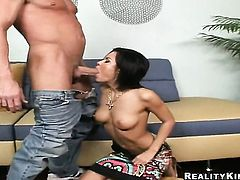 Sexy senorita pornstar loses control after Billy Glide inserts his rock hard man meat in her mouth