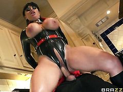 Danny D uses his sturdy dick to make blowjob addict Well-endowed porn diva Kerry Louise happy