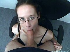 Nasty Brandy in Glasses enjoys giving hot Blowjob and Handjob gets Face Fucked and Cum In Her Mouth On Cumshot On Amateur POV