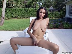 Bethany is out in the backyard, relaxing and letting her perfect black boobies hang out. She has such a sweet pair of natural tits. Her man plays with her perfect breasts and kisses her passionately. After jiggling her tits, she plays with her pussy. Watch her wrap her lips around her man's hard cock.