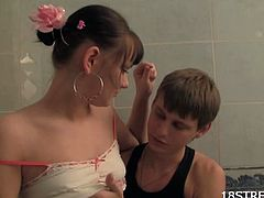 18 stream brings you a hell of a free porn video where you can see how this slutty brunette teen gets banged in the bathroom while assuming very interesting poses.