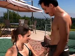 Here's one perverse brunette who loves sunbathing in her sexy black bikini, but soon she is joined y a lucky dude with a big hard cock.See how this brunette babe sucking his hard cock deeply and then rides it hard.