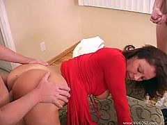 Dazzling pornstar with big tits yelling while her anal is feasted hardcore in mmf sex