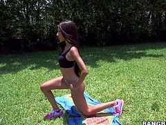 Skinny ebony girl Nadia Nicole with firm boobs and clean tight pussy shows every inch of her amazing body as she does yoga in the open air She displays her private parts right in the sun.