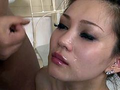 Alluring nude Japanese lady Ameri Ichinose gives blowjobs for facial cumshot