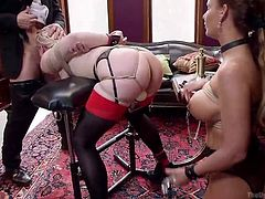 Phoenix and Ella are two whores, who do not mind doing anything for a bit of sexual excitement. That's why when Mr Pete calls them over to fuck, they readily agree. They don't really mind getting painful nipple clamps, licking pussy and have big dildos, driven up their hot little pussies. All they want, is a bit of a fun and a lot of sex with Mr Pete, who takes the both of them.
