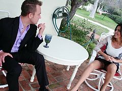 He is relaxing out on the deck after a business lunch at his boss' house. The boss' wife comes over, to see how he is doing and soon, she is turned on. Neither can control themselves, even though they know, what they want to do is so wrong. She sucks him off outside. They head to the bedroom for more fun.
