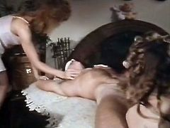 Three busty vintage ladies suck and ride blindfolded dude's strong cock