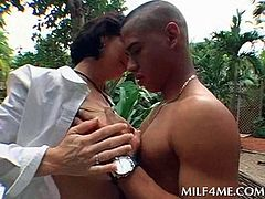 Chesty MILF showering outdoor and sucking horny shaft like a hooker