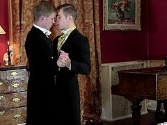 Paul and Daniel are your perfect English gentlemens, who like to do things in style. That's how these two proposed to each other. Watch these two handsome blokes get on, like a house on fire. They take dicks in mouth and make sure they are slick, before they enter each other's butt holes.