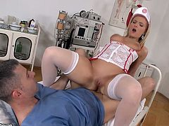 Perverted nurse wearing sexy outfit gets her ass hole fucked
