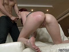 Slim gorgeous red haired babe guzzles big cock and gets her anus fucked