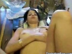Kinky black haired wifey gets nailed from behind right in the kitchen