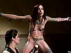 Restrained tattooed hoe gets her clit punished by horny mistress