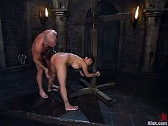 Brutal bald headed master Mark Davis fucks Ava Devine stretched pussy