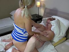 Czech big tits young and old lesbian couple masturbating their pussy with sextoy and strapon amazing