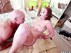 Brooke Wylde shows off her body parts while giving cock massage to a lucky dude