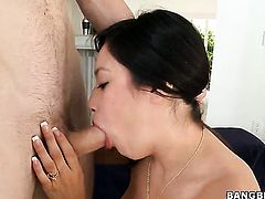 Linda Lay with giant knockers and hairless cunt is too hot to stop sucking her mans rock hard pole