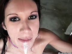 Taylor Rain does dirty things and then gets her nice face dreamed in jizz