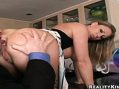 John Strong attacks Horny Devon LeeS ass way with his love torpedo after she gives mouth job