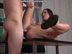 Small tittied student chick gets her pussy and anus rammed right on the table