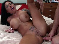 High-heeled whore with a sexy tattooed body enjoying a hardcore fuck