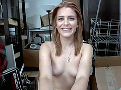 Petite playful chick Abby Paradise with small tits and neatly trimmed pussy strips down to her bar skin in the back room. Skinny girl shows her bush with legs apart before playing with cock.