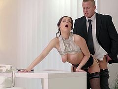 Visit official Babes's HomepageSteamy Antonia Sainz looks dashing in her black stockings and with her shaved pussy exposed for her needy boss