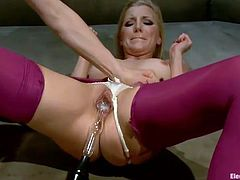 Blonde mistress fucks Ashley fires with magic electro device
