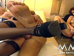 Kinky doctor fucks two perverted nurses in stockings