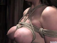 Breast bondage and blowjob workout with lewd busty blondie Tyla Wynn
