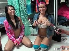 Teen babes playing dress up and working twats at college party