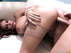 Diamond Foxxx with big breasts swallows Clovers sturdy love stick