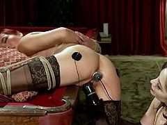 Brunette mistress Lea Lexis  punishes electro slut with long stick