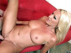 Beautiful breathtaker Diana Doll gets a mouthful of pole in blowjob action with hot bang buddy
