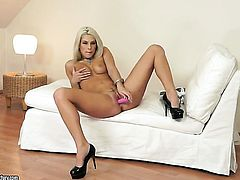 Blonde Blanche Bradburry spends her sexual energy alone using her fingers