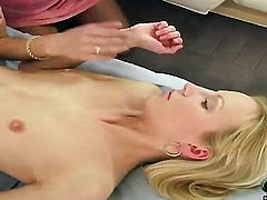 Blonde Suzie Carina touches her twat like theres no tomorrow
