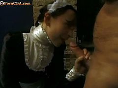 Checkout this horny brunette maid sucking this fat cock in the bathroom. She gives a nice blowjob to this dude before getting her trimmed tight pussy licked and fucked hard. Enjoy!