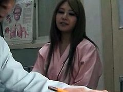 Japanese doctor stripping patients and giving boob checks