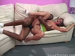 Checkout this horny and busty babe, getting drilled hard by a big black cock of Christy Mac. Watch how she gets banged in several positions, while she screams and moans in pain. Finally she gets a big load of cum in her mouth. Enjoy!