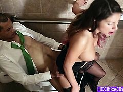 Busty secretary gets fuck in the bathroom
