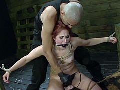 Visit official Sexual Disgrace's HomepageObedient Rose Red craves to swallow jizz after having her shaved twat nailed in savage manners during rough BDSM porn show