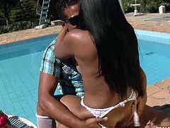 Alexandra rides that cock as her big juicy ass bounces around. Watch this big booty Brazilian babe in white stockings getting drilled in cowgirl and reverse cowgirl positions near the pool side. Enjoy!