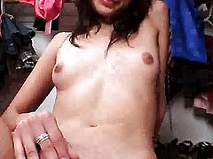 Pebbles with tiny boobs strips naked and plays with her love box