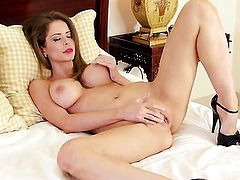 Emily Addison parts her legs to fuck herself, take sex toy in her eager wet spot